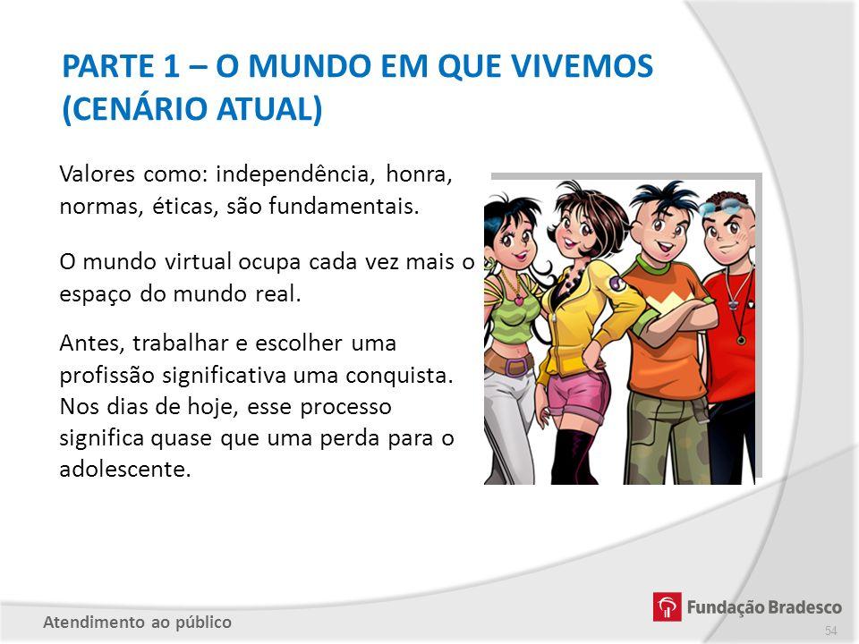 PARTE 1 – O MUNDO EM QUE VIVEMOS (CENÁRIO ATUAL) Valores como: independência, honra, normas, éticas, são fundamentais. O mundo virtual ocupa cada vez