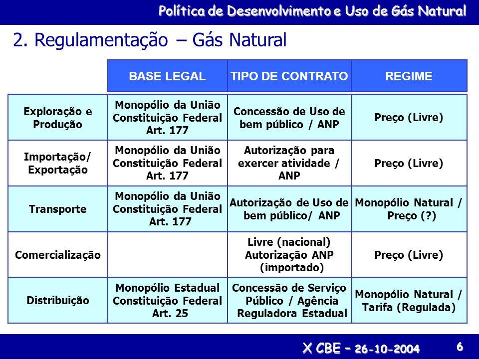 Política de Desenvolvimento e Uso de Gás Natural X CBE – 26-10-2004 6 2. Regulamentação – Gás Natural BASE LEGALTIPO DE CONTRATOREGIME Exploração e Pr