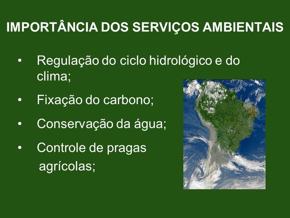 Regulação do ciclo hidrológico e do clima; Fixação do carbono; Conservação da água; Controle de pragas agrícolas; IMPORTÂNCIA DOS SERVIÇOS AMBIENTAIS