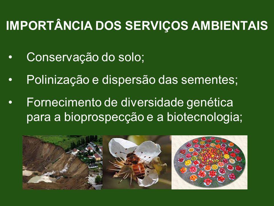 Conservação do solo; Polinização e dispersão das sementes; Fornecimento de diversidade genética para a bioprospecção e a biotecnologia; IMPORTÂNCIA DO