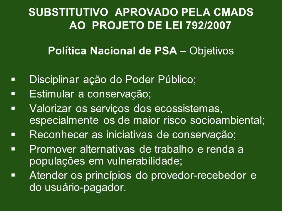 SUBSTITUTIVO APROVADO PELA CMADS AO PROJETO DE LEI 792/2007 Política Nacional de PSA – Objetivos Disciplinar ação do Poder Público; Estimular a conser