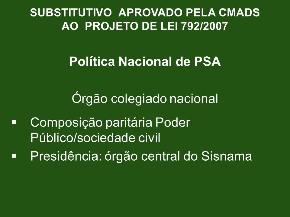 Política Nacional de PSA Órgão colegiado nacional Composição paritária Poder Público/sociedade civil Presidência: órgão central do Sisnama SUBSTITUTIV