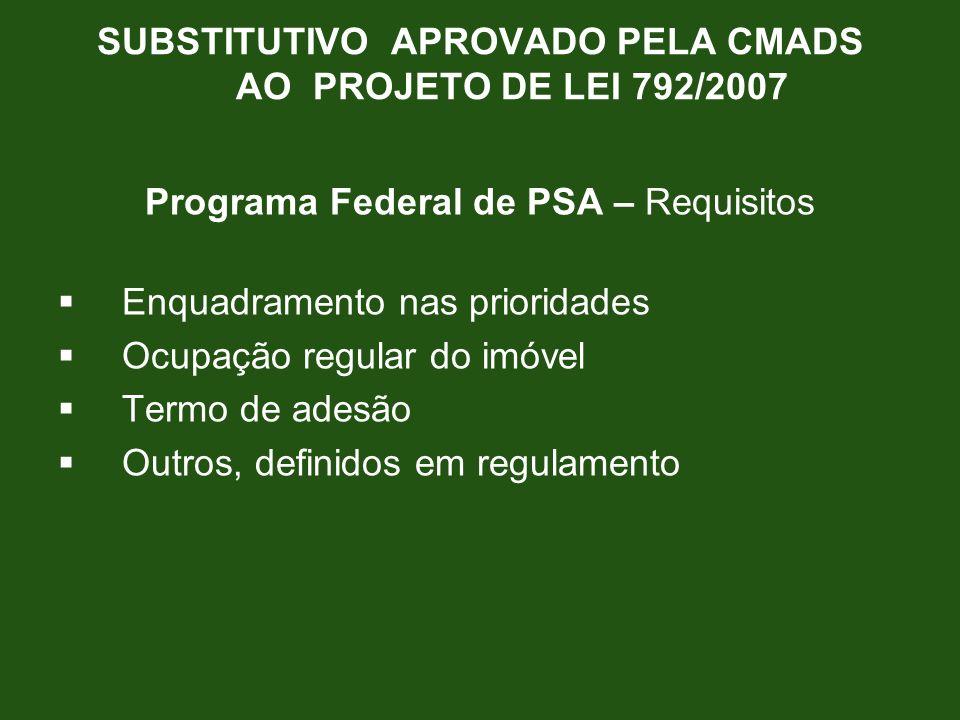 Programa Federal de PSA – Requisitos Enquadramento nas prioridades Ocupação regular do imóvel Termo de adesão Outros, definidos em regulamento SUBSTIT