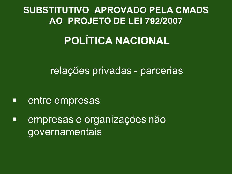POLÍTICA NACIONAL relações privadas - parcerias entre empresas empresas e organizações não governamentais SUBSTITUTIVO APROVADO PELA CMADS AO PROJETO
