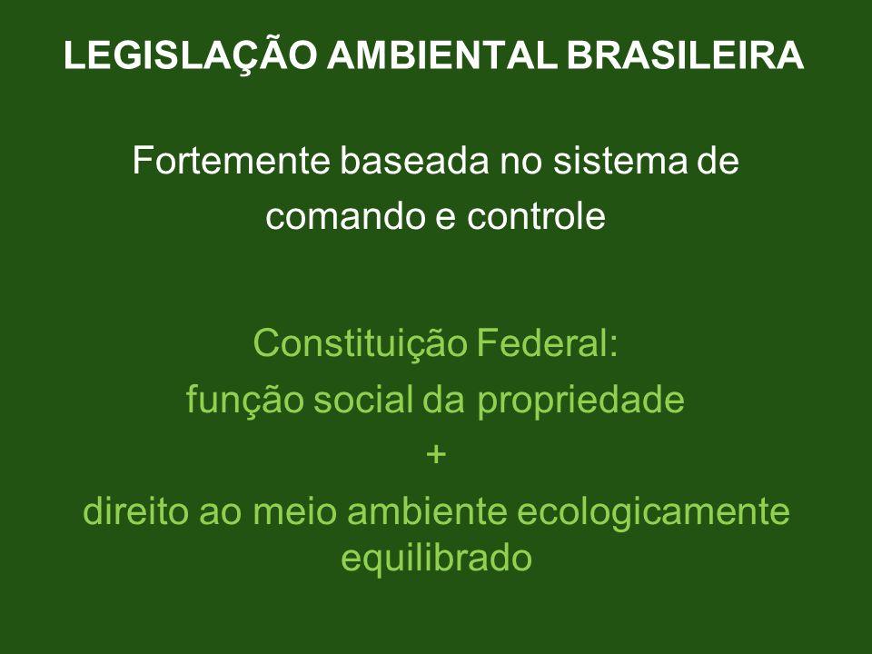 LEGISLAÇÃO AMBIENTAL BRASILEIRA Fortemente baseada no sistema de comando e controle Constituição Federal: função social da propriedade + direito ao me