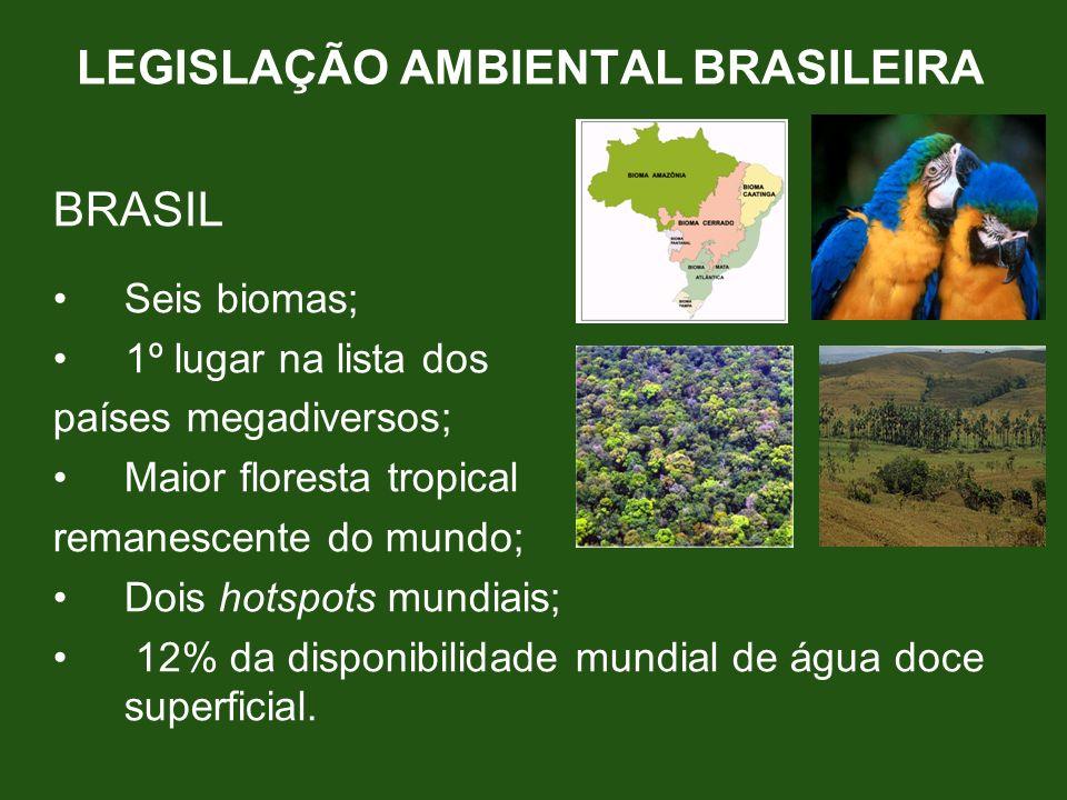 LEGISLAÇÃO AMBIENTAL BRASILEIRA BRASIL Seis biomas; 1º lugar na lista dos países megadiversos; Maior floresta tropical remanescente do mundo; Dois hot