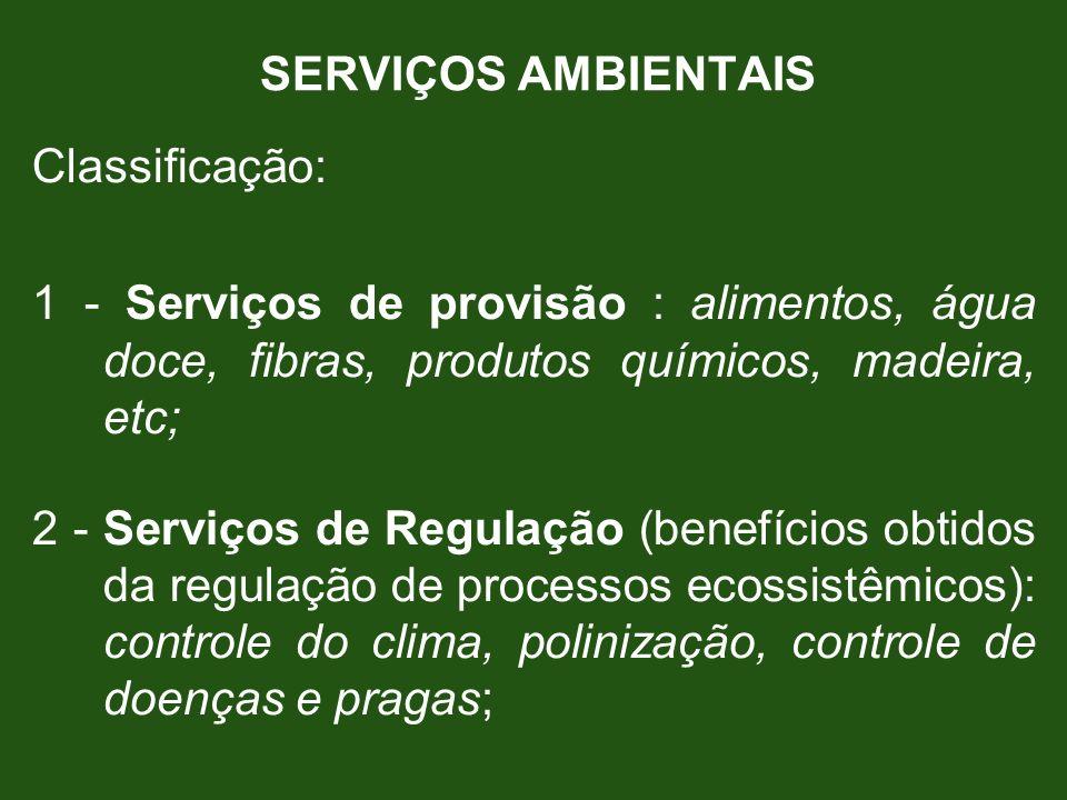 SERVIÇOS AMBIENTAIS Classificação: 1 - Serviços de provisão : alimentos, água doce, fibras, produtos químicos, madeira, etc; 2 - Serviços de Regulação