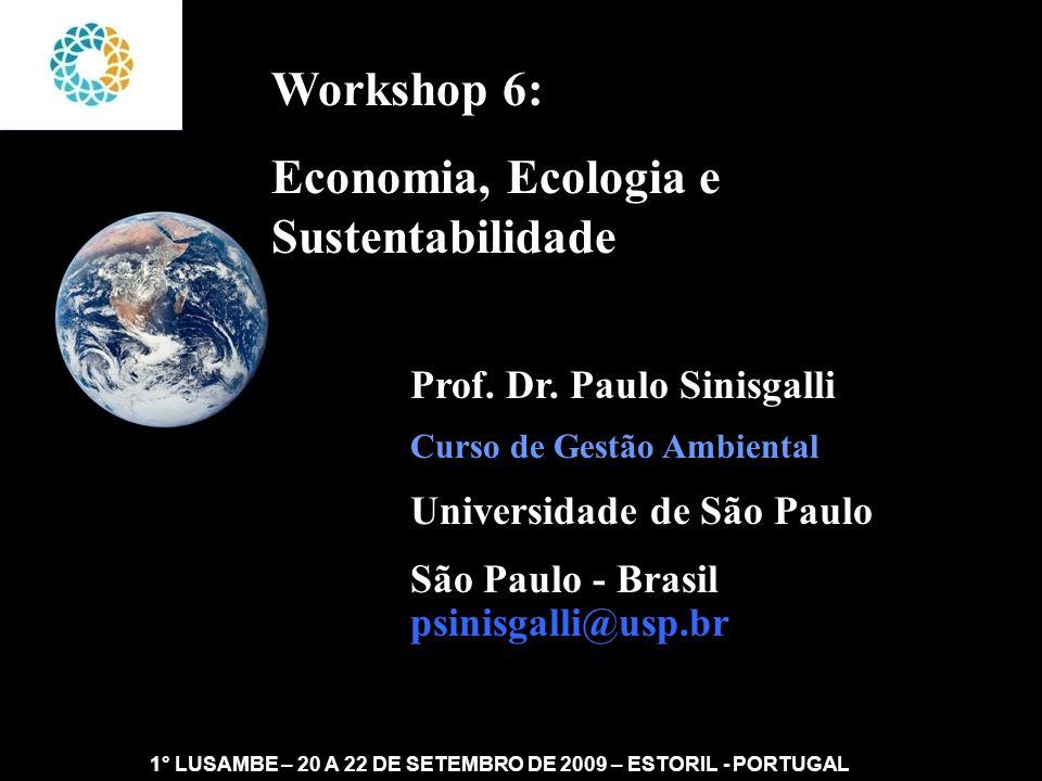 II FEAmbienta – FEA – USP- 03 a 05 DE NOVEMBRO DE 2008 Sustentabilidade: a Tautologia do Capital Natural 1° LUSAMBE – 20 A 22 DE SETEMBRO DE 2009 – ESTORIL - PORTUGAL