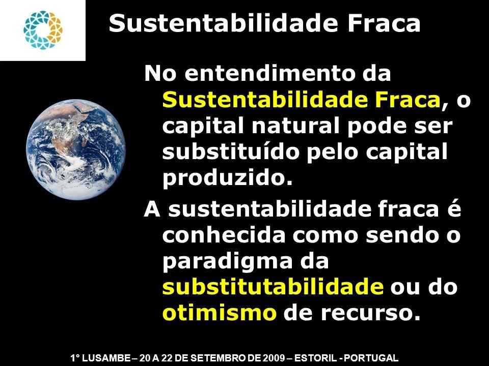 II FEAmbienta – FEA – USP- 03 a 05 DE NOVEMBRO DE 2008 A sustentabilidade forte é conhecida como sendo o paradigma da não-substitutabilidade.