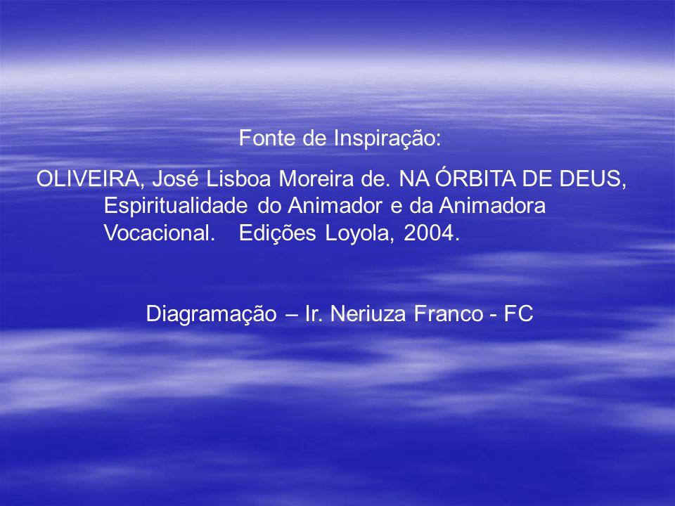 Fonte de Inspiração: OLIVEIRA, José Lisboa Moreira de. NA ÓRBITA DE DEUS, Espiritualidade do Animador e da Animadora Vocacional. Edições Loyola, 2004.