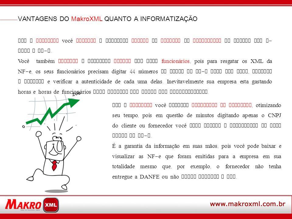 Com o MakroXML você elimina o processo MANUAL do cliente ou fornecedor de enviar por e - mail a NF - e. Você também elimina o processo MANUAL dos seus