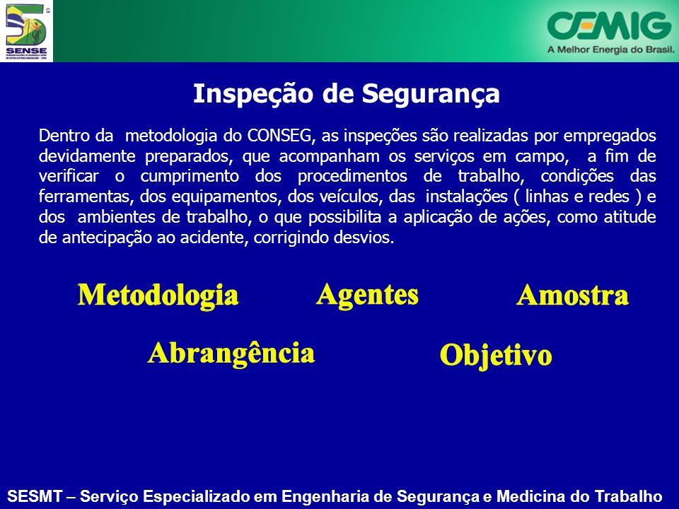 SESMT – Serviço Especializado em Engenharia de Segurança e Medicina do Trabalho Inspeção de Segurança Dentro da metodologia do CONSEG, as inspeções sã