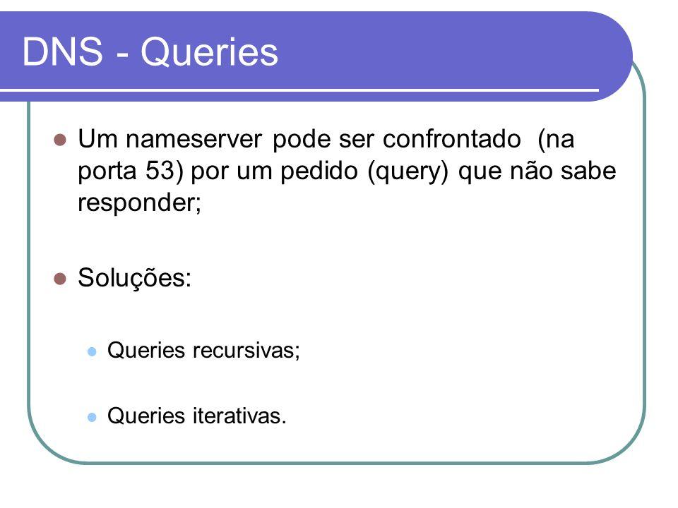 DNS - Queries Um nameserver pode ser confrontado (na porta 53) por um pedido (query) que não sabe responder; Soluções: Queries recursivas; Queries ite