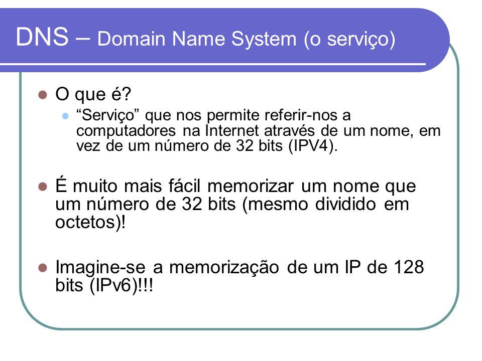 DNS – Domain Name System (o serviço) O que é? Serviço que nos permite referir-nos a computadores na Internet através de um nome, em vez de um número d