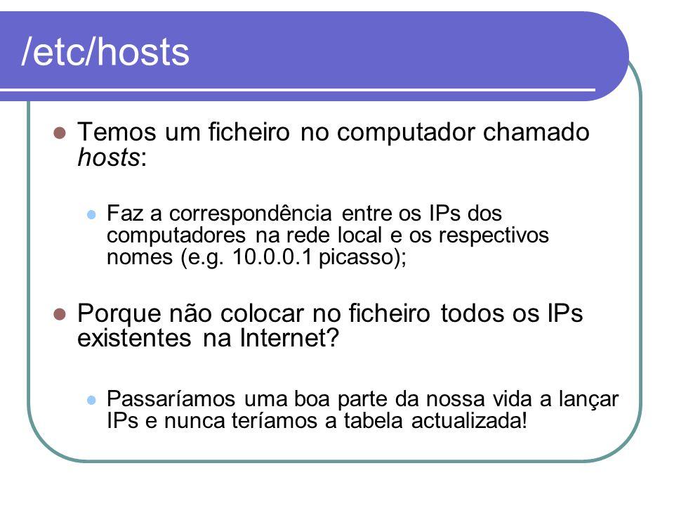 /etc/hosts Temos um ficheiro no computador chamado hosts: Faz a correspondência entre os IPs dos computadores na rede local e os respectivos nomes (e.
