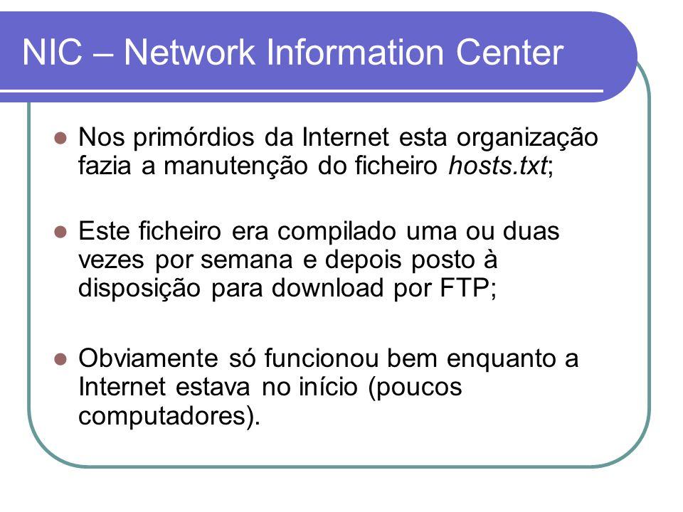 NIC – Network Information Center Nos primórdios da Internet esta organização fazia a manutenção do ficheiro hosts.txt; Este ficheiro era compilado uma