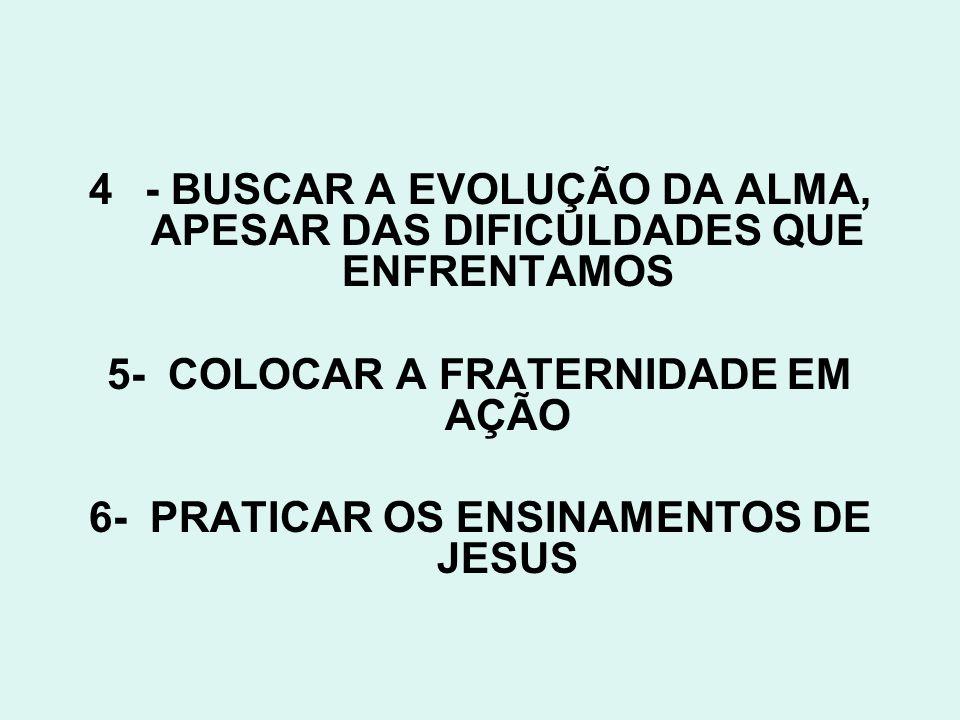 4- BUSCAR A EVOLUÇÃO DA ALMA, APESAR DAS DIFICULDADES QUE ENFRENTAMOS 5- COLOCAR A FRATERNIDADE EM AÇÃO 6- PRATICAR OS ENSINAMENTOS DE JESUS