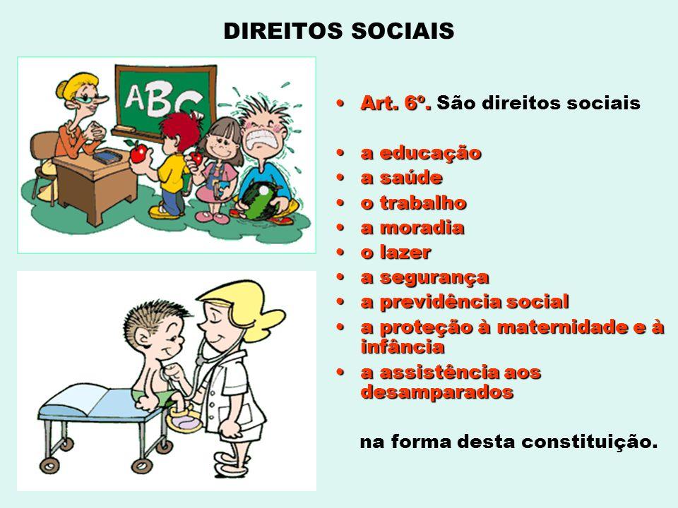 Art. 6º.Art. 6º. São direitos sociais a educaçãoa educação a saúdea saúde o trabalhoo trabalho a moradiaa moradia o lazero lazer a segurançaa seguranç