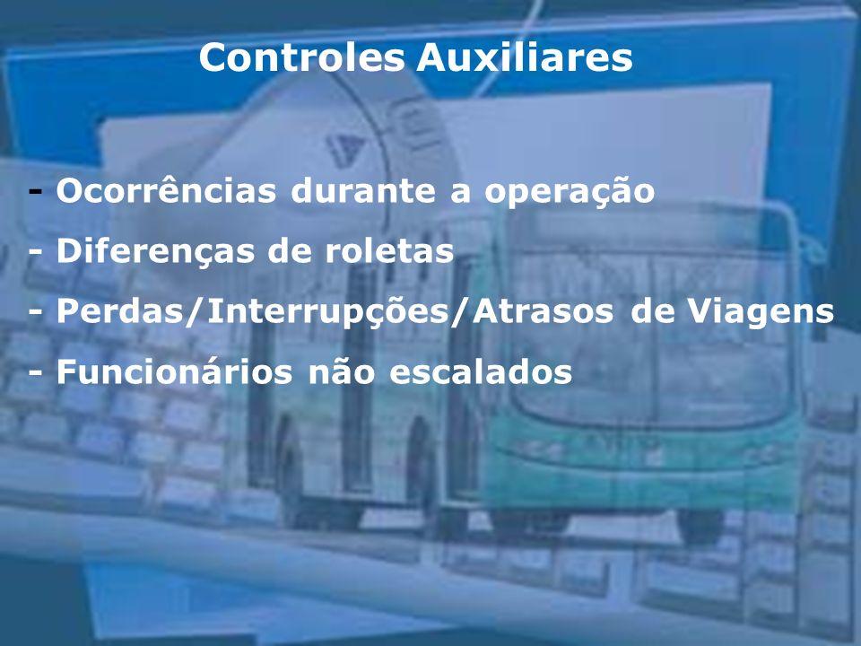 Controles Auxiliares - Ocorrências durante a operação - Diferenças de roletas - Perdas/Interrupções/Atrasos de Viagens - Funcionários não escalados