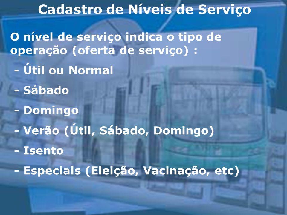 Cadastro de Níveis de Serviço O nível de serviço indica o tipo de operação (oferta de serviço) : - Útil ou Normal - Sábado - Domingo - Verão (Útil, Sábado, Domingo) - Isento - Especiais (Eleição, Vacinação, etc)