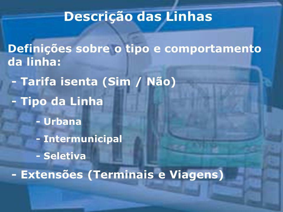 Descrição das Linhas Definições sobre o tipo e comportamento da linha: - Tarifa isenta (Sim / Não) - Tipo da Linha - Urbana - Intermunicipal - Seletiva - Extensões (Terminais e Viagens)
