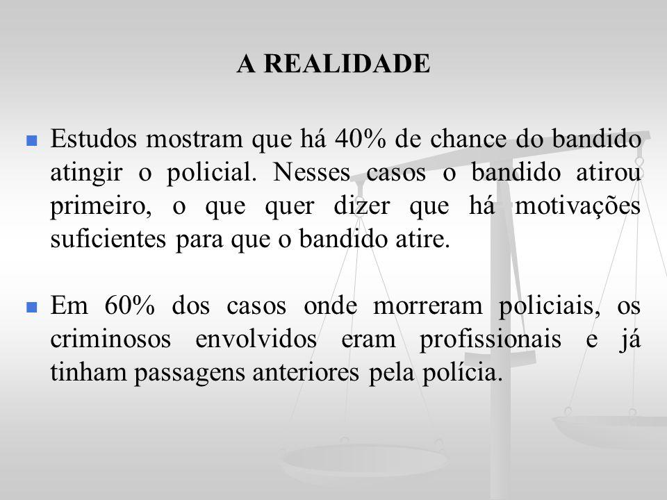 A REALIDADE Estudos mostram que há 40% de chance do bandido atingir o policial. Nesses casos o bandido atirou primeiro, o que quer dizer que há motiva