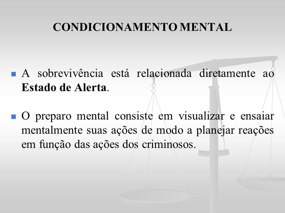 CONDICIONAMENTO MENTAL A sobrevivência está relacionada diretamente ao Estado de Alerta. O preparo mental consiste em visualizar e ensaiar mentalmente