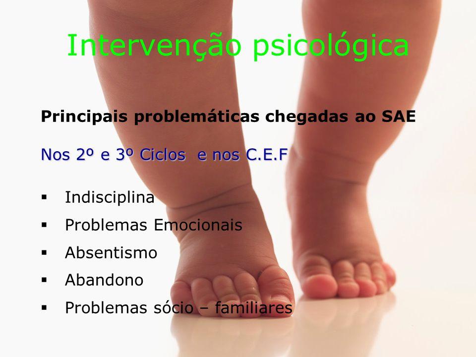 Intervenção psicológica Principais problemáticas chegadas ao SAE Nos 2º e 3º Ciclos e nos C.E.F Indisciplina Problemas Emocionais Absentismo Abandono Problemas sócio – familiares