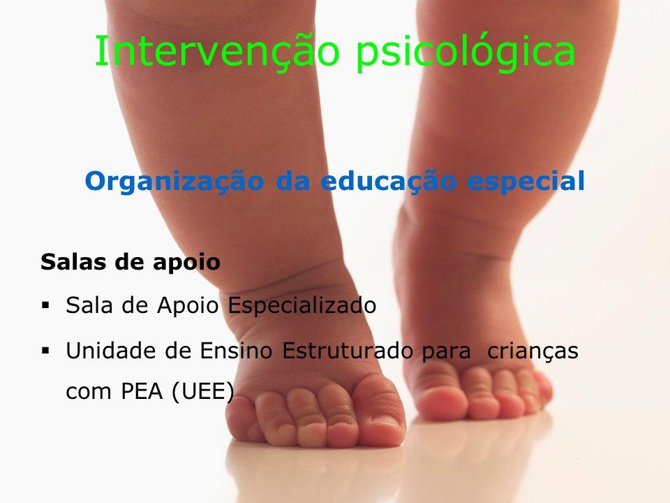 Intervenção psicológica Organização da educação especial Salas de apoio Sala de Apoio Especializado Unidade de Ensino Estruturado para crianças com PEA (UEE)
