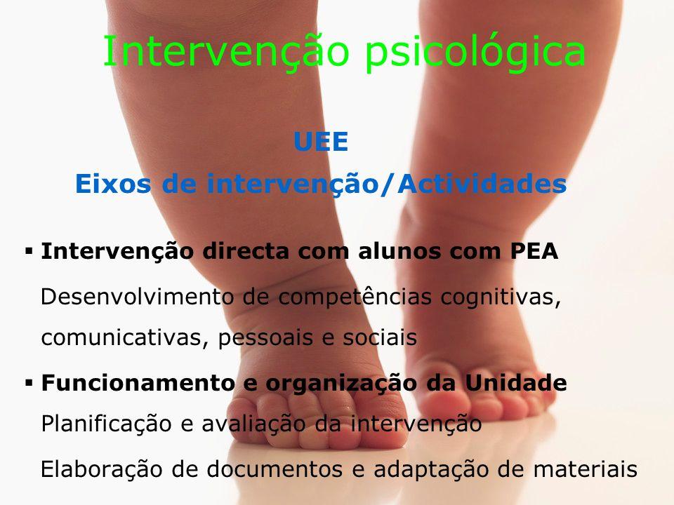 Intervenção psicológica UEE Eixos de intervenção/Actividades Intervenção directa com alunos com PEA Desenvolvimento de competências cognitivas, comunicativas, pessoais e sociais Funcionamento e organização da Unidade Planificação e avaliação da intervenção Elaboração de documentos e adaptação de materiais