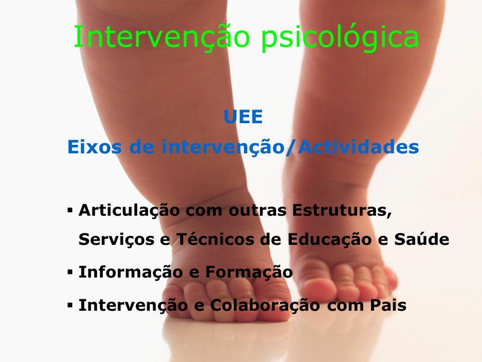Intervenção psicológica UEE Eixos de intervenção/Actividades Articulação com outras Estruturas, Serviços e Técnicos de Educação e Saúde Informação e Formação Intervenção e Colaboração com Pais