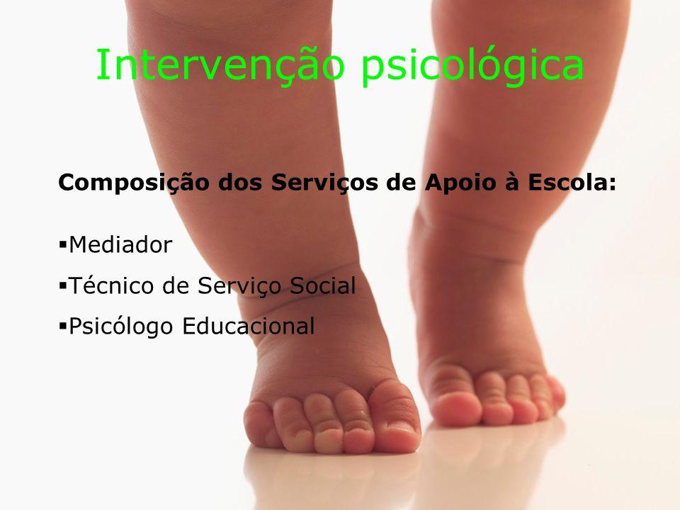 Intervenção psicológica Composição dos Serviços de Apoio à Escola: Mediador Técnico de Serviço Social Psicólogo Educacional