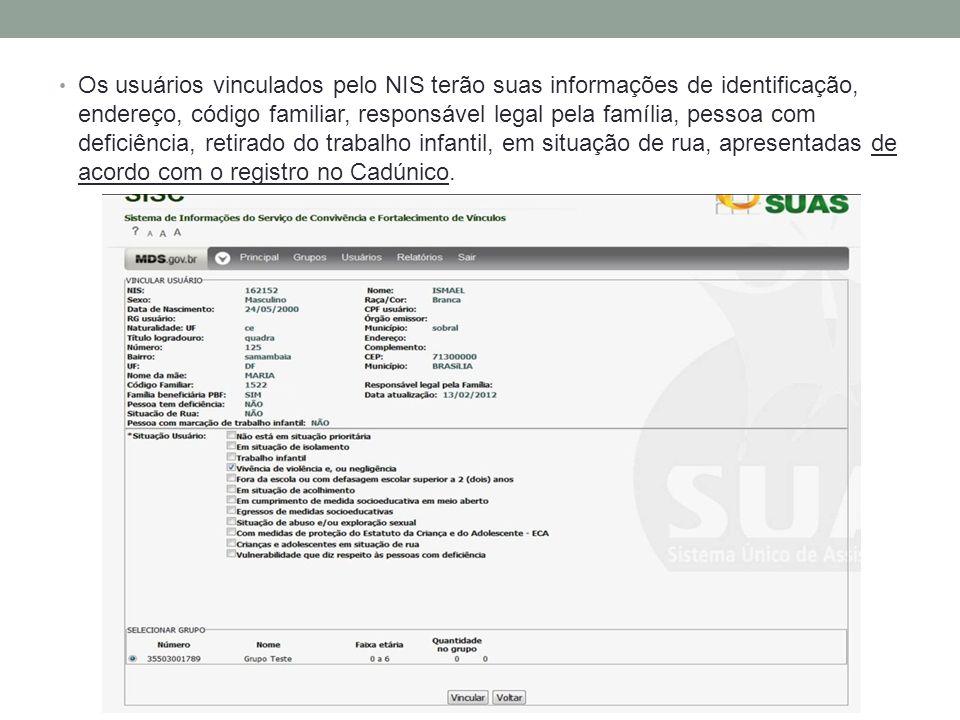 Os usuários vinculados pelo NIS terão suas informações de identificação, endereço, código familiar, responsável legal pela família, pessoa com deficiê