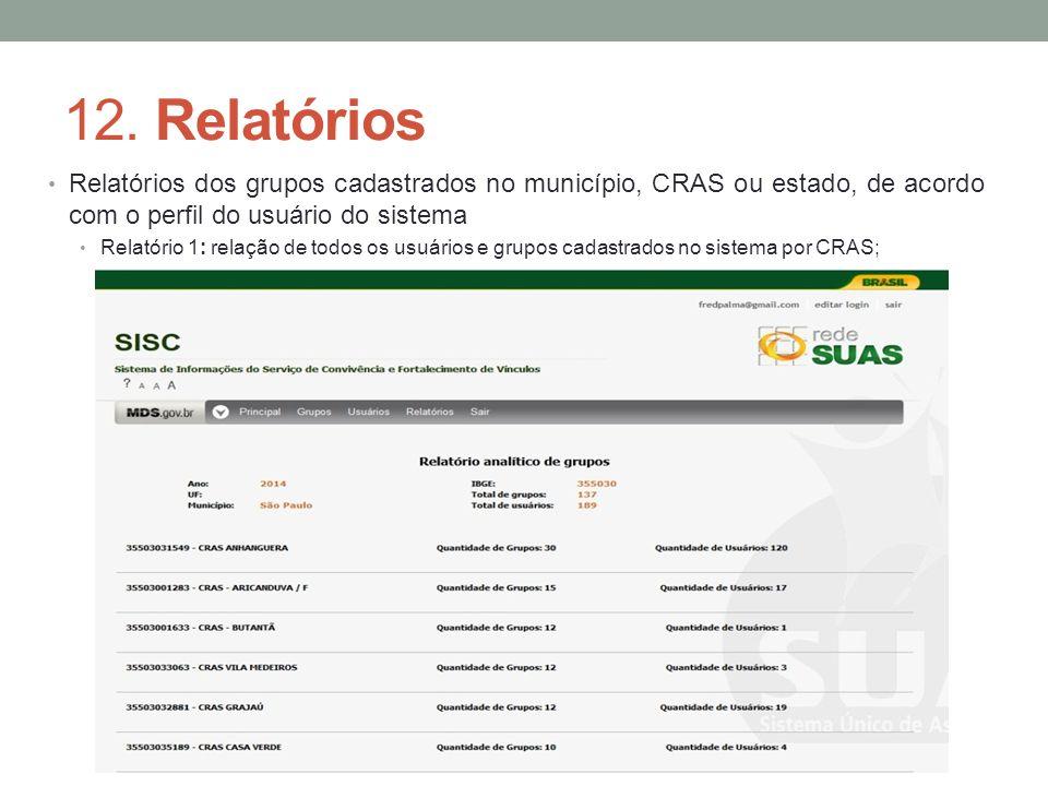 12. Relatórios Relatórios dos grupos cadastrados no município, CRAS ou estado, de acordo com o perfil do usuário do sistema Relatório 1: relação de to