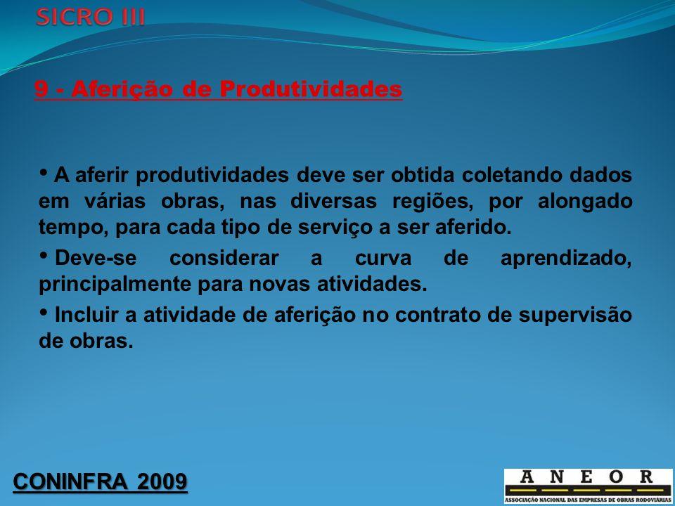 CONINFRA 2009 9 - Aferição de Produtividades A aferir produtividades deve ser obtida coletando dados em várias obras, nas diversas regiões, por alonga