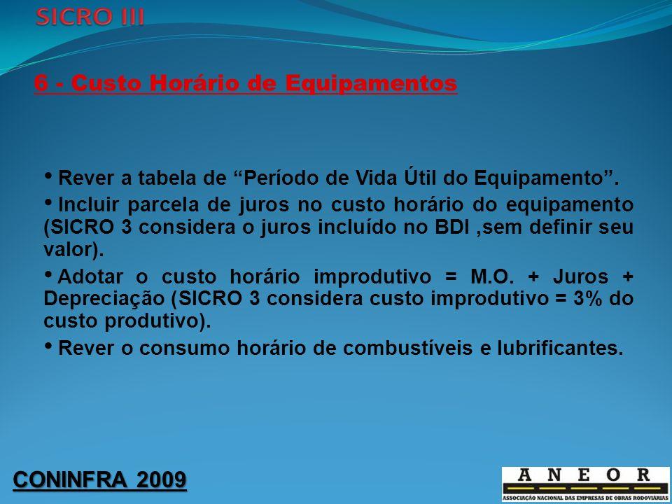 CONINFRA 2009 6 - Custo Horário de Equipamentos Rever a tabela de Período de Vida Útil do Equipamento. Incluir parcela de juros no custo horário do eq