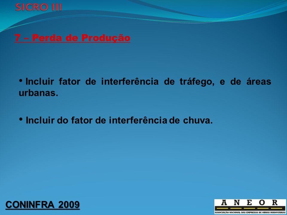CONINFRA 2009 7 – Perda de Produção Incluir fator de interferência de tráfego, e de áreas urbanas. Incluir do fator de interferência de chuva.