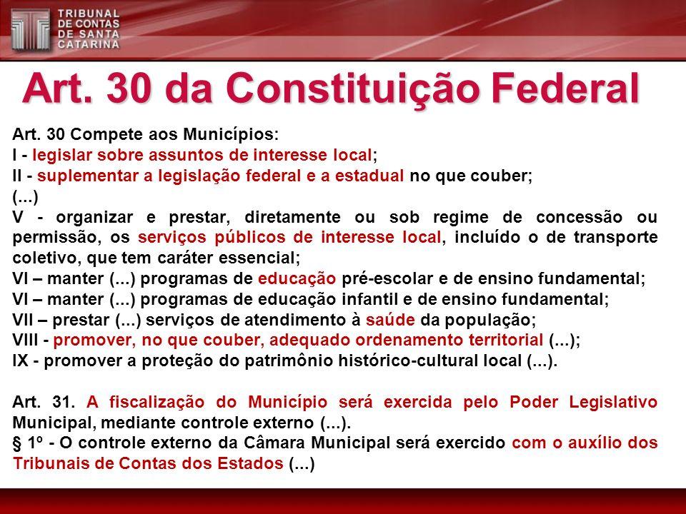 Art. 30 Compete aos Municípios: I - legislar sobre assuntos de interesse local; II - suplementar a legislação federal e a estadual no que couber; (...