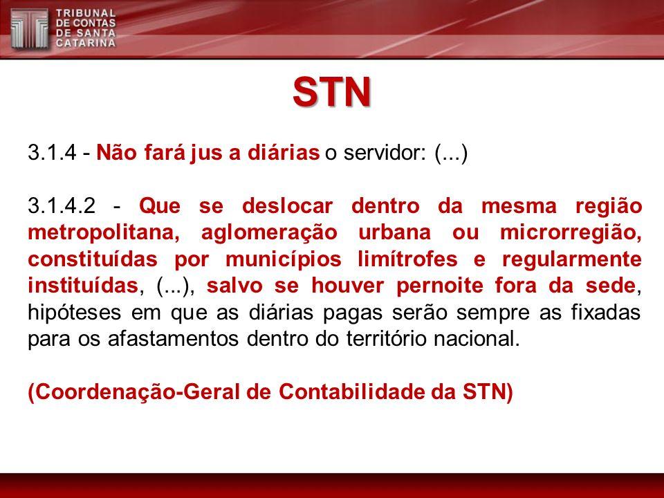 STN 3.1.4 - Não fará jus a diárias o servidor: (...) 3.1.4.2 - Que se deslocar dentro da mesma região metropolitana, aglomeração urbana ou microrregiã