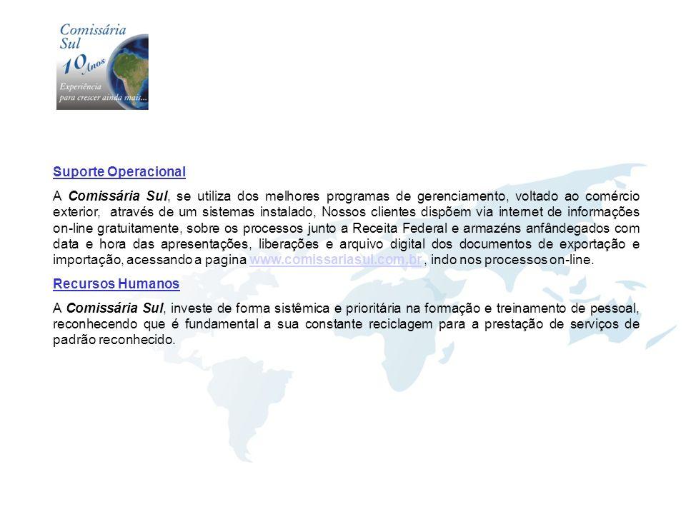 Suporte Operacional A Comissária Sul, se utiliza dos melhores programas de gerenciamento, voltado ao comércio exterior, através de um sistemas instala