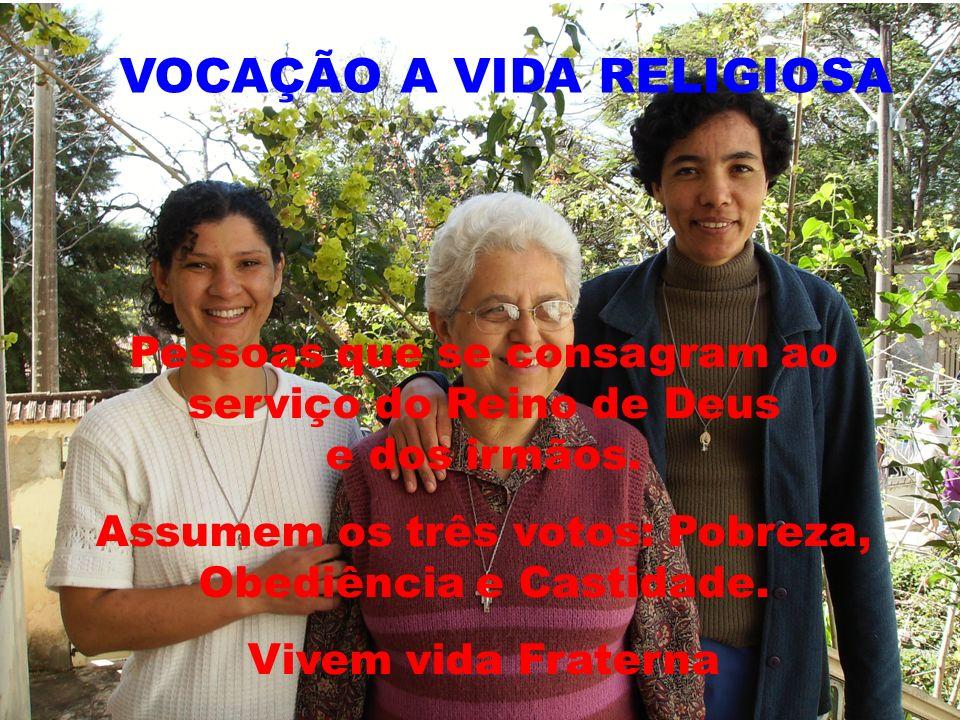 VOCAÇÃO A VIDA RELIGIOSA Pessoas que se consagram ao serviço do Reino de Deus e dos irmãos. Assumem os três votos: Pobreza, Obediência e Castidade. Vi