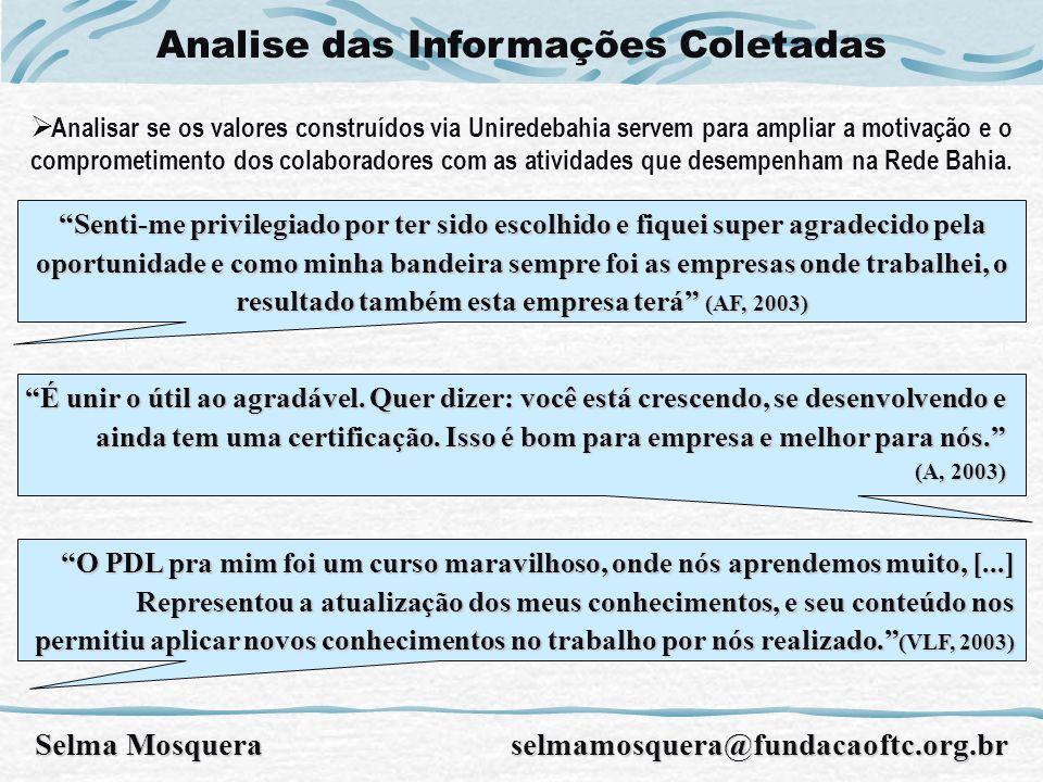 Analise das Informações Coletadas Selma Mosquera selmamosquera@fundacaoftc.org.br Senti-me privilegiado por ter sido escolhido e fiquei super agradeci