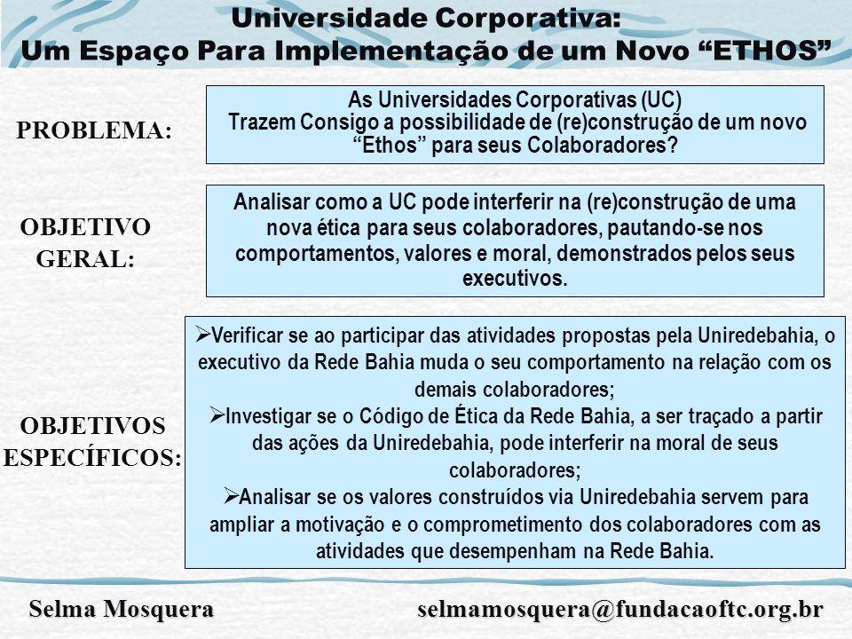 Universidade Corporativa: Um Espaço Para Implementação de um Novo ETHOS PROBLEMA: As Universidades Corporativas (UC) Trazem Consigo a possibilidade de