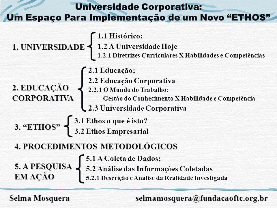 1. UNIVERSIDADE 1.1 Histórico; 1.2 A Universidade Hoje 1.2.1 Diretrizes Curriculares X Habilidades e Competências 3. ETHOS 2.1 Educação; 2.2 Educação
