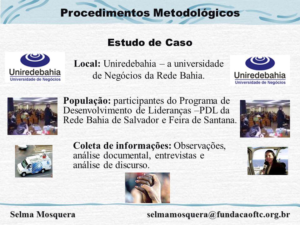 Procedimentos Metodológicos Estudo de Caso População: participantes do Programa de Desenvolvimento de Lideranças –PDL da Rede Bahia de Salvador e Feir