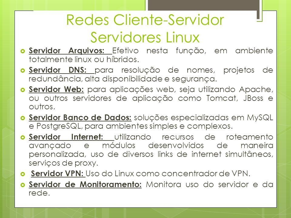 Redes Cliente-Servidor Windows Server Servidor DNS Servidor de Aplicação Servidor DHCP Serviços de Arquivo Serviços de Diretiva e Acesso à Rede Serviços de Impressão e Documentação Serviços de Área de Trabalho Remota Serviços Web (IIS) Servidor de Cloud(Windows Server 2012)