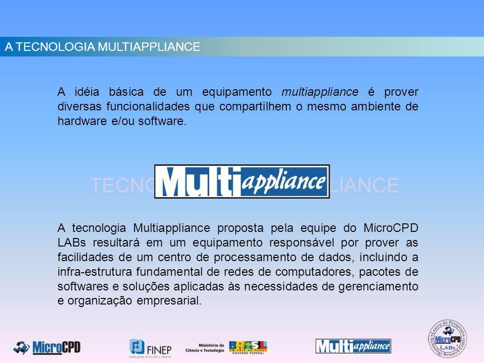 TECNOLOGIA MULTIAPPLIANCE A idéia básica de um equipamento multiappliance é prover diversas funcionalidades que compartilhem o mesmo ambiente de hardw
