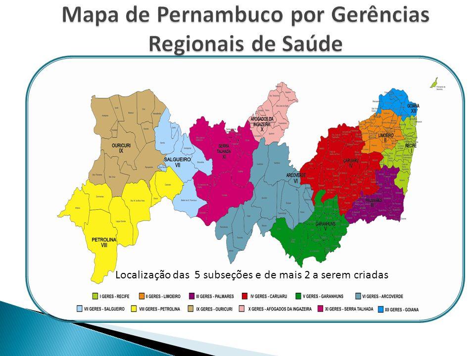 População de Pernambuco: 8.796.032 habitantes Número de Municípios: 185 e o Distrito Fernando de Noronha Numero de Regionais de Saúde: 12 Profissionais de Enfermagem Inscritos: 62.298 Numero de Instituições a serem fiscalizadas: 4.926 instituições de saúde 117 instituições de ensino 220 outras instituições com atividade de enfermagem