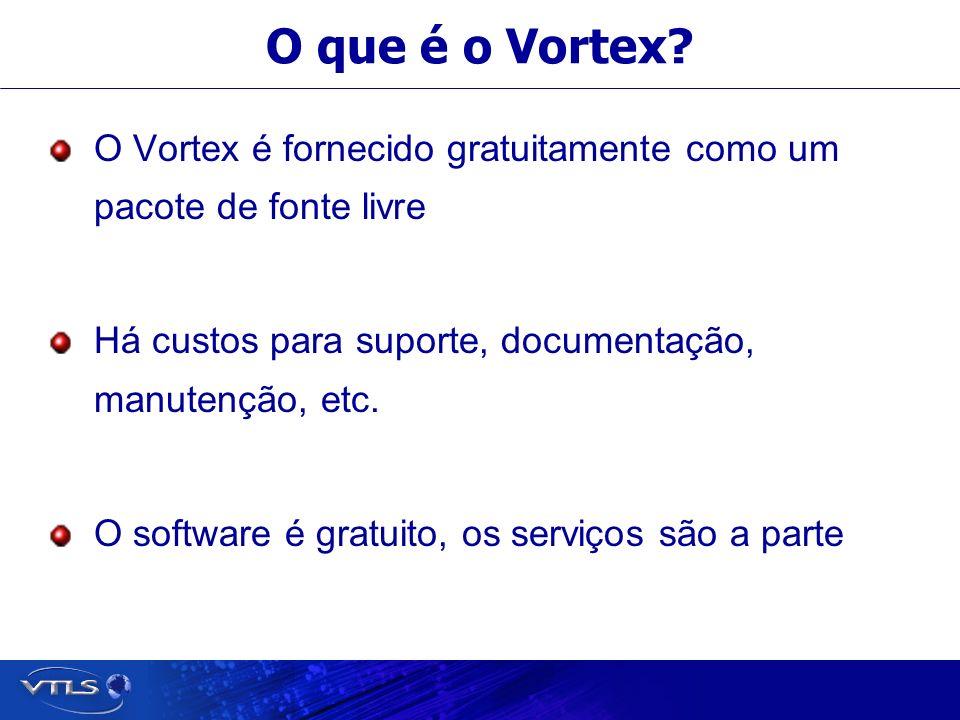 O que é o Vortex? O Vortex é fornecido gratuitamente como um pacote de fonte livre Há custos para suporte, documentação, manutenção, etc. O software é