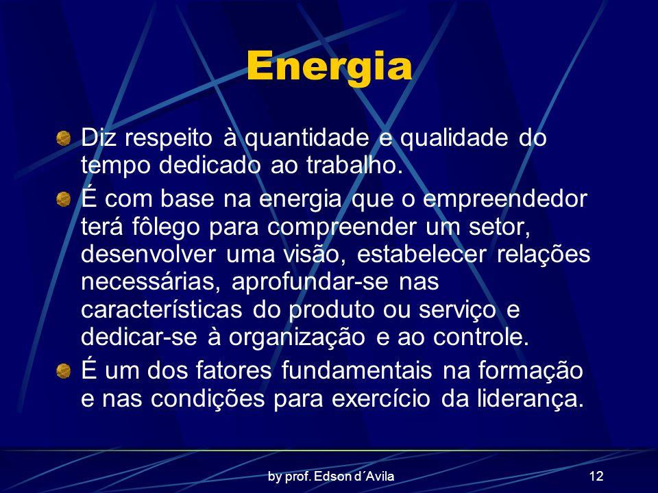 by prof. Edson d´Avila12 Energia Diz respeito à quantidade e qualidade do tempo dedicado ao trabalho. É com base na energia que o empreendedor terá fô